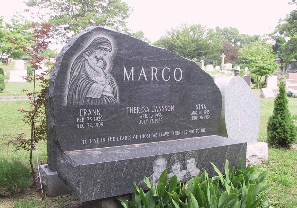 Companion monument – Memorial Bench – Christian – Catholic – Irish – Etching – Marcos
